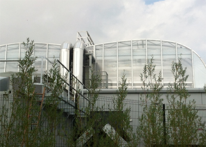 Green house as part of window cleaning service on a University campus