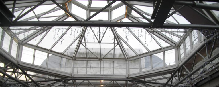 High level glass roof