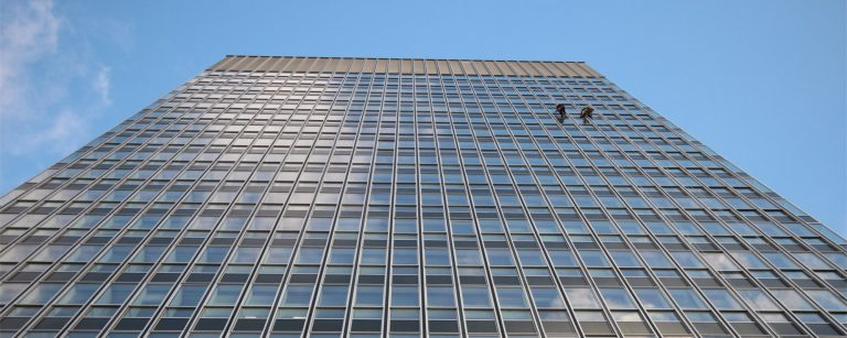 Rope access for high level building maintenance